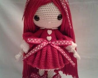 VALENTINA Crochet Amigurumi Doll - Crochet Girl Doll - Valentine Girl