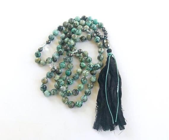 African Turquoise Mala Beads, Mala For Positive Change, Third Eye Chakra Mala, 108 Mala Beads, Yoga Jewelry, Gemstone Mala Beads