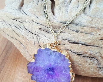 Purple Solar Quartz Druzy Necklace On A Long 14K Gold Filled Chain / Crystal Quartz Necklace / Boho Luxe / Natural Stone / Solar Quartz