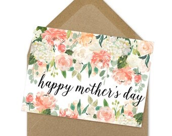 Happy Mother's Day card, Mother's Day card, mom card, digital file, download, printable, instant print card | A6