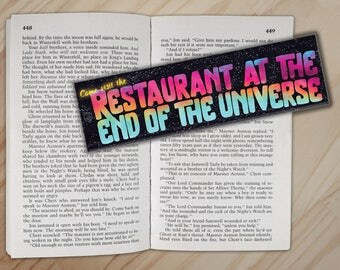 The Restaurant at the End of the Universe Bookmark - Hitchhiker's Guide to the Galaxy Douglas Adams Bookmark