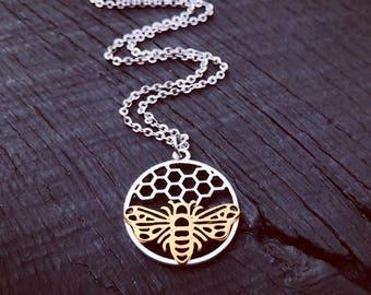 Queen Bee Pendant Necklace | Bee Lover Jewelry | HoneyComb Necklace | Bee Keepers Jewelry Gift | HoneyBee Necklace | Apiarist Gift | BeeHive