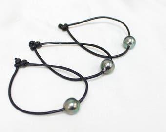 11MM 12MM 13MM Authentic Tahitian Pearl 1.5MM Pendant Charm Surfer Leather Cord Bracelet