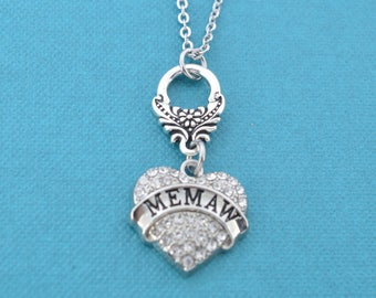 Memaw Charm Pendant Necklace Memaw gifts.  Memaw necklace.  Memaw charm.  Gift for Mewmaw. Grandmother gifts.