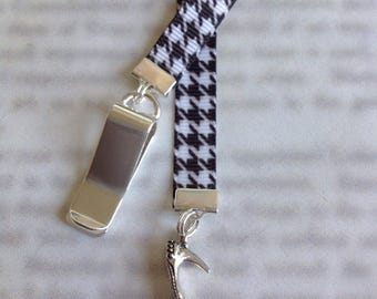 Shoe Lover Bookmark / Fashionista Bookmark / High Heel Bookmark - Clip to book cover then mark page with ribbon. Never lose your bookmark!