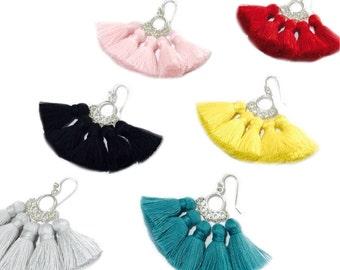 Earrings Blush Pink Tassel Turquoise Tassel Yellow Earrings 925 Sterling Silver Jewelry Gift Summer Party Gifts for woman Black Tassels