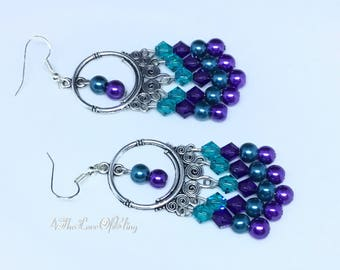 Gorgeous Peacock Coloured Chandelier   Dreamcatcher Earrings made with Swarovski Crystals with Pearls and hypoallergenic findings