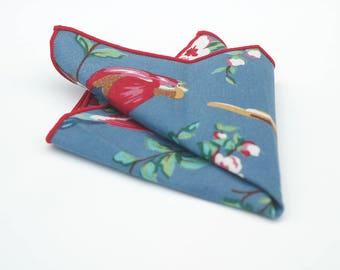 Light blue bird pocket square - red edge