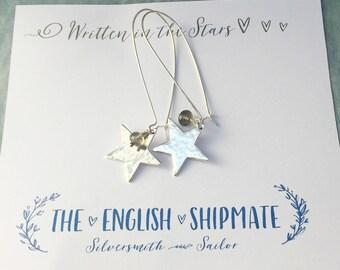 Labradorite Gemstone Long Silver Star Earrings, statement earrings