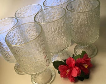 Set of six Scandinavian style textured icicle pedestal glass goblets