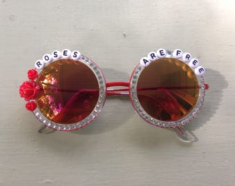 """Ween """"Roses Are Free"""" decorated sunglasses, funky embellished shades perfect for Hulaween and HalloWEEN"""
