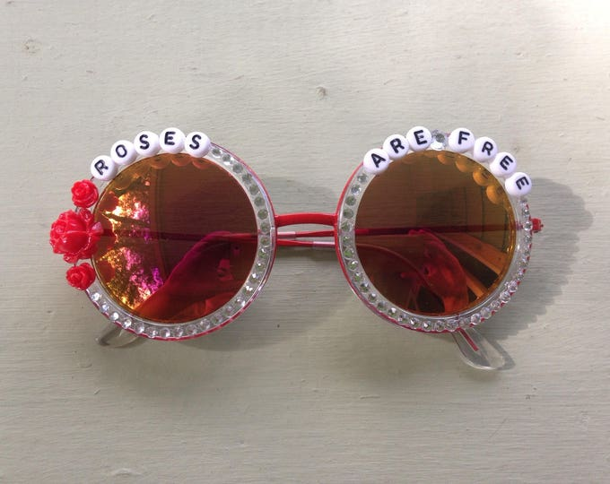 "Ween ""Roses Are Free"" decorated sunglasses, funky embellished shades perfect for Hulaween and HalloWEEN"