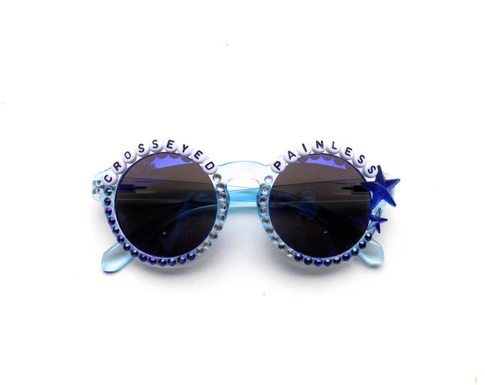 """Talking Heads """"Crosseyed and Painless"""" Hand Decorated Sunglasses, funky round embellished shades with Phish/Talking Heads lyrics"""
