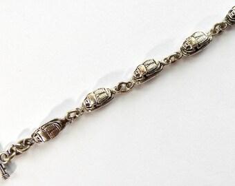 Vintage Sterling Scarab Egyptian Revival Bracelet
