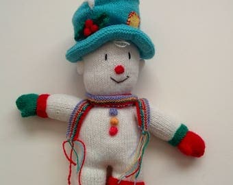 Hand Knitted Mr Twizzle the Snowman (made from a Jean Greenhowe pattern)