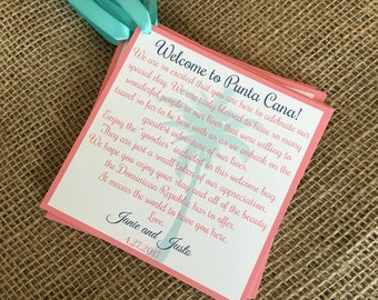 "Wedding Welcome Bag Tags 5"" x 5"" with Satin Ribbon- Customizable- Destination Wedding, Beach Wedding, Aruba, Mexico, Punta Cana and more!"