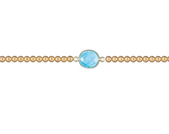 Turquoise gemstone bracelet with gold filled beads