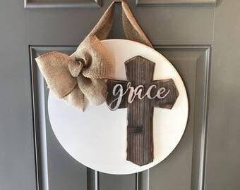 Cross Door Wreath, Religious Door Hanger, Grace Sign, Cross Door Hanger, Anniversary Gift, Front Door Decor, All Year Door Hanger, Door Sign