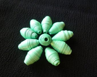 """""""Mint cordial"""" set of 10 oval paper beads green, perfect for designing earrings"""