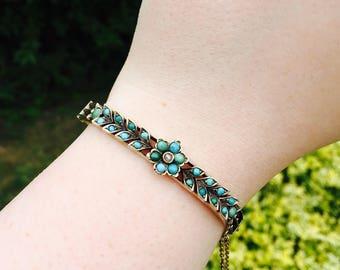 VICTORIAN antique bracelet, blue forget me not flower bangle bracelet, Victorian turquoise floral something old blue wedding bracelet
