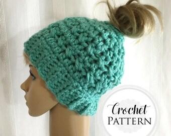 Messy Bun Hat CROCHET PATTERN - Pattern for Crochet Ponytail Hat - Bun Beanie Crochet Pattern - Running Hat Pattern - Bun Hat Pattern