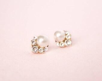 READY TO SHIP Celestial Pearl Cluster Earrings Gold, Studs, Wedding Earrings, Bridal Earrings, Cluster Earrings, Pearl Earrings, Pearl Studs