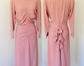 Vintage 1940's Ruched Crepe Dress with Bustle l M