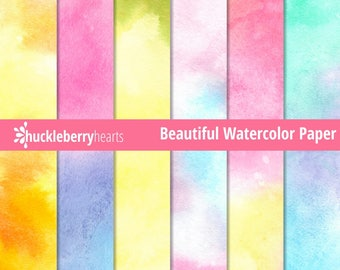Watercolor Digital Paper, Watercolor Textures, Watercolor Backgrounds, Printable, Commercial Use