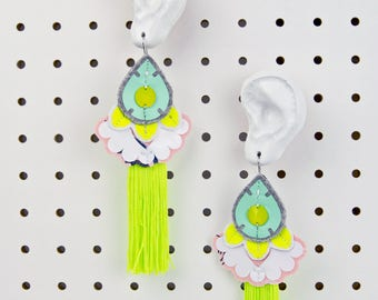 OVERSIZE EARRINGS in neon yellow, peach and minty green. Light weight, oversize earrings, cut from recycled fabric and hand stitched.