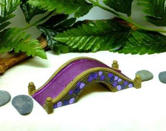 Purple MINIATURE COBBLESTONE BRIDGE Fairy Bridge Miniature Displays Fairy Accessory Inside or Outdoor Purple and Lavender