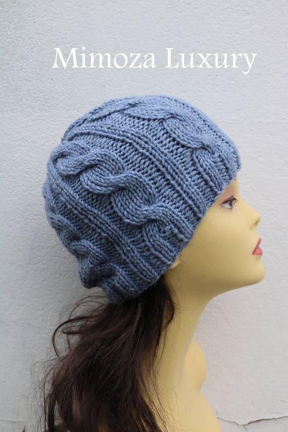 Light Denim Grey women's Beanie hat, Hand Knitted Hat in denim light grey beanie hat, knitted men's, women's beanie hat, winter hat, ski hat