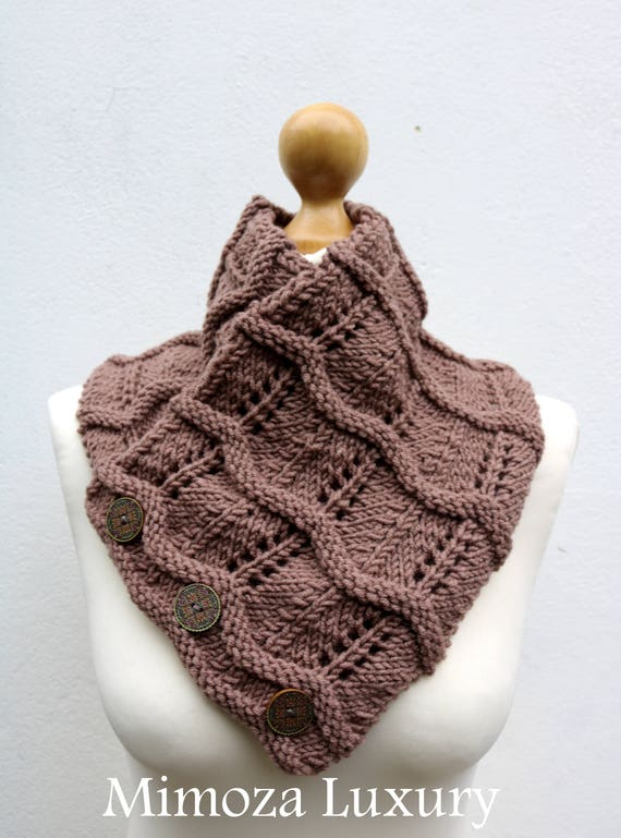 Taupe Brown Merino Wool Hand Knitted Scarf, Knit scarf wrap Brown Scarf, Shawl, Wrap, Neck warmer, Brown knit scarf, women's knit scarf