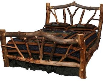 Aspen Stickley Forest Log Bed,  Reclaimed Wood Bed, Colorado Aspen Log Furniture