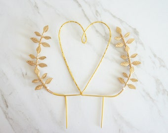 Gold heart wedding cake topper, Heart and leaves cake topper, Woodland cake topper, Rustic chic wedding, Woodland, Heart cake topper