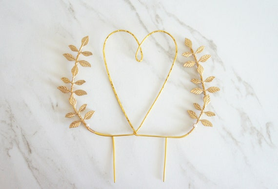 gold heart wedding cake toppers gold wedding cake topper and leaves cake topper 14785