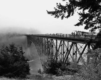 Deception pass bridge black and white photo