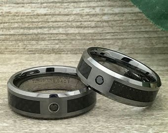 8mm His and Hers Tungsten Ring, Personalized Custom Engraved Tungsten Ring with Black Diamond, Wedding Rings, Promise Ring, Couples Ring