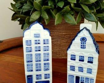 Beautiful Vintage Delft Blauw Canal Shop Building Salt/Pepper Shakers.