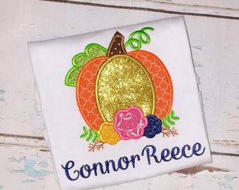 Floral Pumpkin Applique, Pumpkin Applique, Fall Applique, Thanksgiving Pumpkin, Girls Pumpkin Applique, Pumpkin with Flowers Shirt