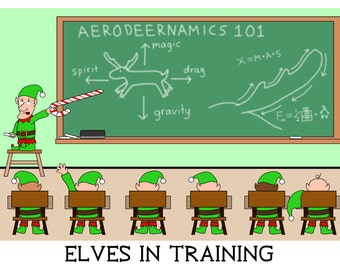 Elves In Training - greeting card - christmas - funny - ID #005