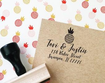 Custom Address Stamp, Return Address Stamp, Self-Inking Address Stamp, Pineapple Stamp, Housewarming Gift, Personalized Address Stamp