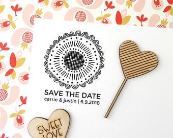 Custom Save the Date Stamp, Wedding Stamp, Save the Dates, Wedding Stamp With Names and Date, Hand Illustrated Custom Save the Date Stamp