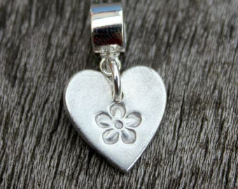 Silver forget me not heart charm, silver flower pandora charm, silver heart charm, mourning jewellery, remembrance jewellery, tiny charm