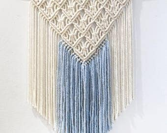 Cream and Light Blue Macrame Wall Hanging