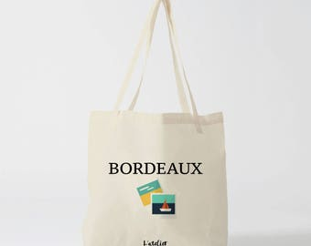 X484Y tote bag Maroon tote bag city Bordeaux city, cotton, bag, shopping bag, bag and tote bag, travel bag, bag cocktails