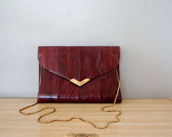 Vintage 1980s Burgundy Red Snakeskin Purse / Evening Bag / Long Gold Snake Chain Strap / Vanna White