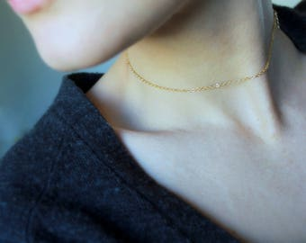 Simple Gold Chain Choker Necklace minimal jewelry gold filled necklace everyday jewelry dainty necklace short gold chain delicate necklace