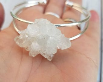 Natural White Uruguay Crystal Rosette Silver Bracelet - Adjustable - Crystal Cuff - Crystal Bracelet
