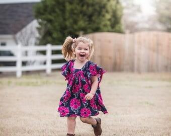 Summer Dress, Little Girl Dress, Spring, Floral Dress, Twirl Dress, Angel Sleeves, Navy Dress, Hot Pink Dress, Toddler Dress, Sizes 2T-9/10