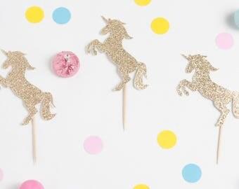 Glitter Unicorn Cupcake Topper, Unicorn Party Picks, Unicorn Kids Party Decor, Gold Unicorn Party, Cupcake Topper Pack